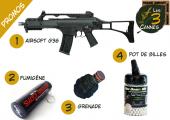Promo Pack Airsoft G36, grenade, fumigène, bille