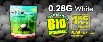 Billes Bio airsoft 6 mm G&G 0.28 g, sac de 3600 billes Blanches