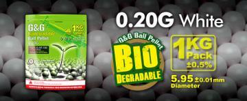 Billes Bio airsoft 6 mm G&G 0.20 g, sac de 3600 billes Blanches