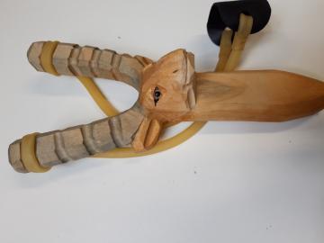 LANCE PIERRE BOIS Sculpté -Sculpture animale ELAN