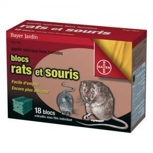 RATICIDE SOURICIDE BAYER-18 Blocs RAT-SOURIS -360g- Appat /Difétialone désechant