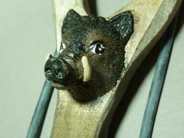 LANCE PIERRE BOIS Sculpté -Sculpture animale SANGLIER