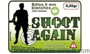Billes plastique Bio 0.20g x5000 Shoot Again   6mm