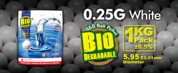 Billes Bio airsoft 6 mm G&G 0.25 g, sac de 3600 billes Blanches
