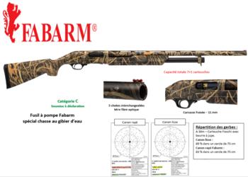 FUSIL POMPE FABARM WATERFOWL CAMO CAL12/76 - Achat autorisé permis chasse /licence